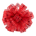 Red Metallic Sheer Stripes Bow