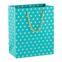 Gold Dot Peacock Recycled Medium Gift Tote