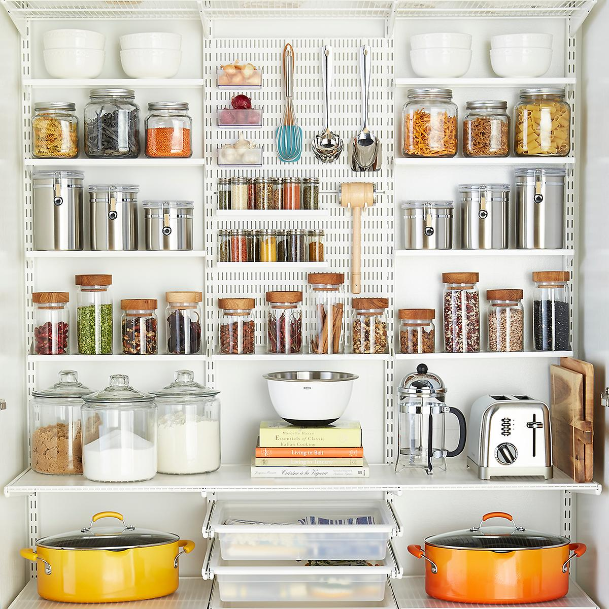 White elfa utility reach in pantry the container store for Best pantry shelving system