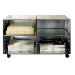 Galvanized Steel Cube Storage Table