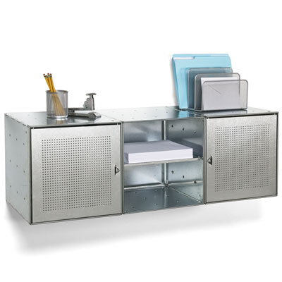 Wall-Mounted Galvanized Steel Cube Credenza