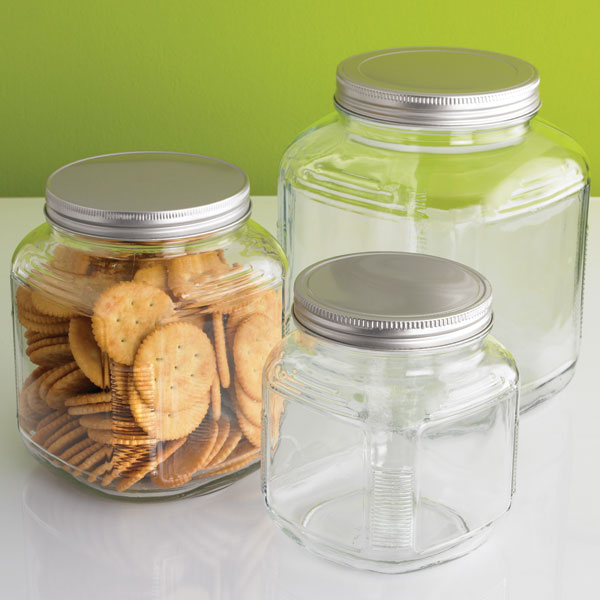 anchor hocking glass cracker jars with aluminum lids the container store. Black Bedroom Furniture Sets. Home Design Ideas