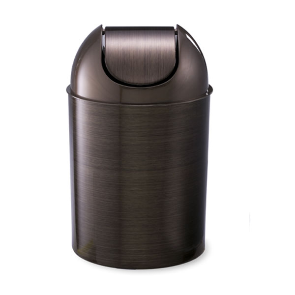 Metallic mezzo can by umbra the container store for Bathroom wastebasket with lid