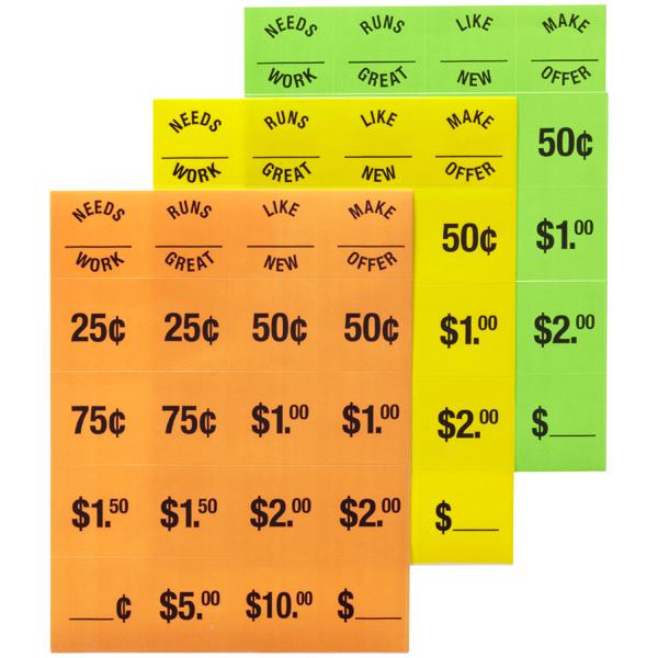Garage Sale Price Tags
