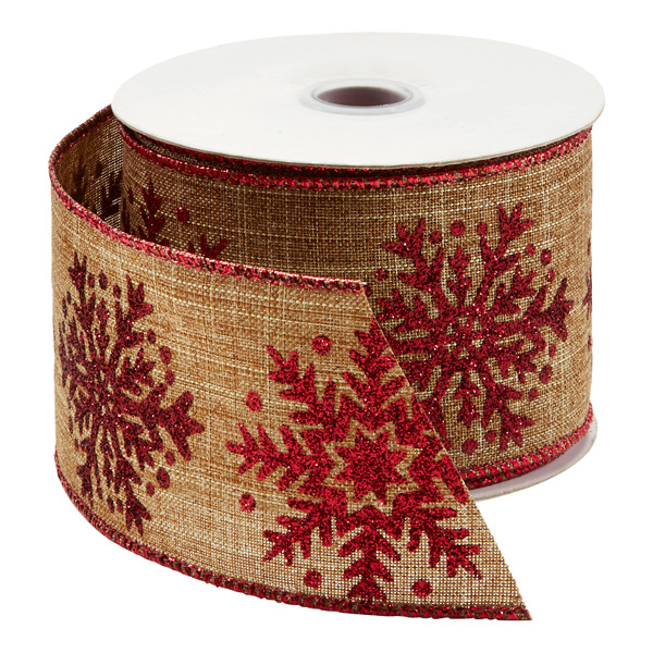 Ribbon Wired Linen Snowflake