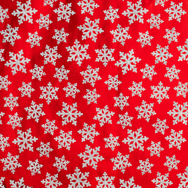 Glitter Snowflakes on Red Wrap