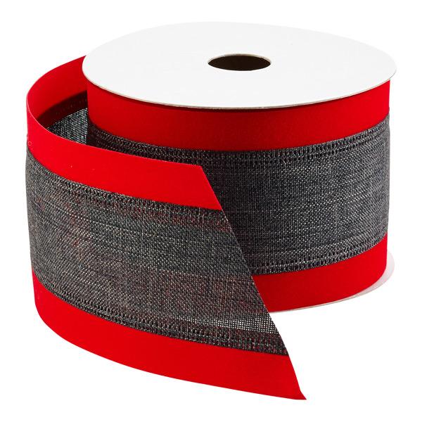 Ribbon Wired Linen w/Felt Edge