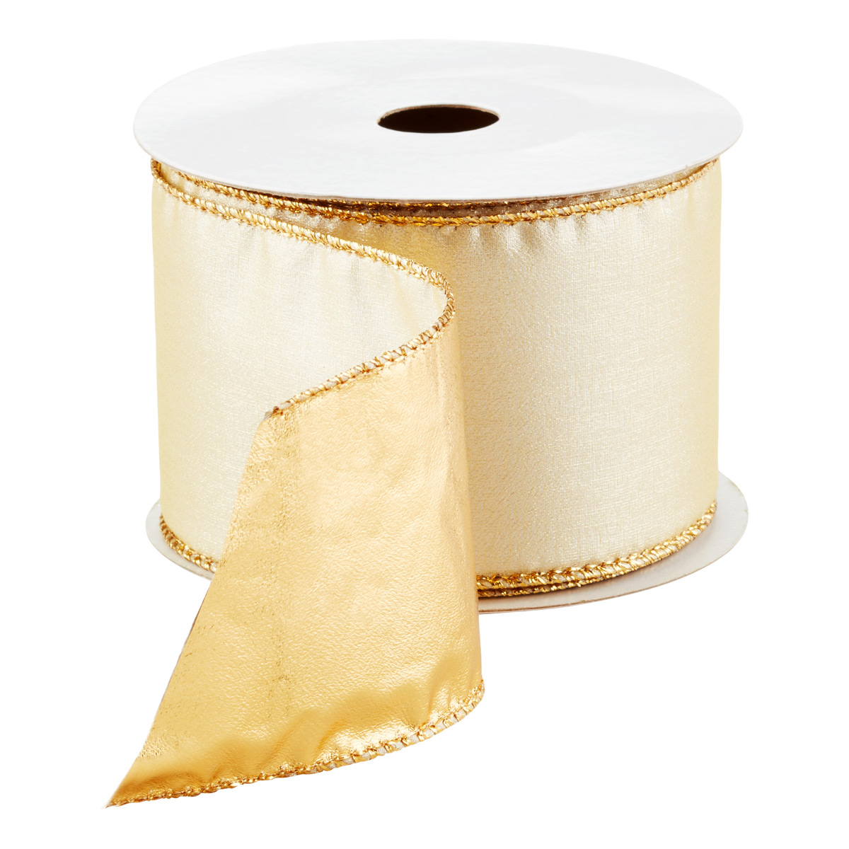 Wired Ribbon Pearl/Gold Lame