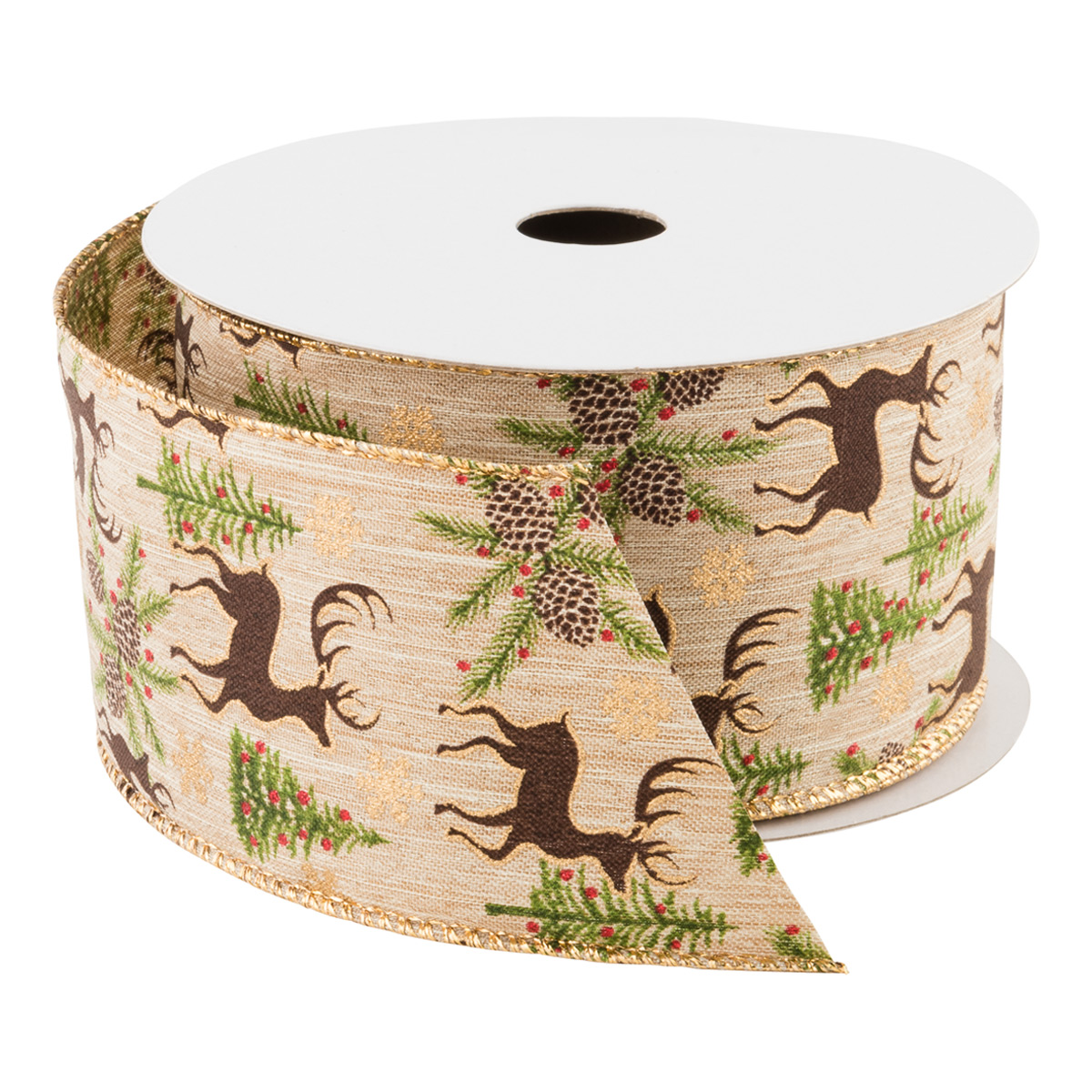Linen Deer/Forest Wired Ribbon