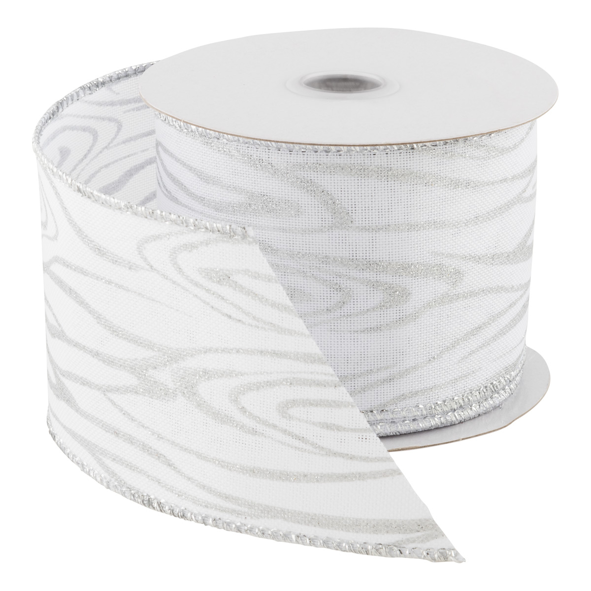 Wired Ribbon White Woodgrain