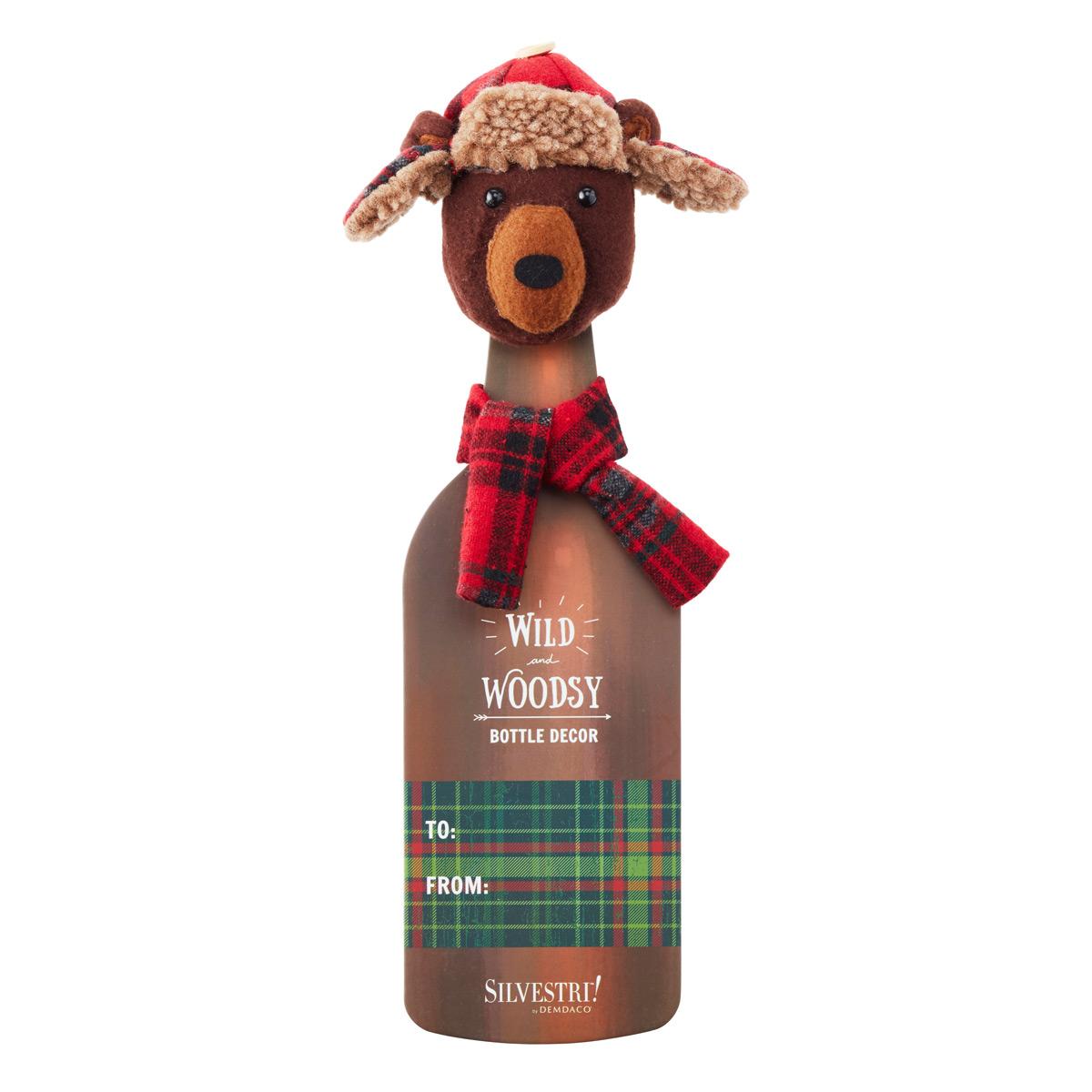 Bottle Cover Plaid Bear