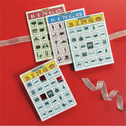 Travel Bingo Pads, featuring icons in cafes, airplanes and roadtrips instead of letters and numbers. pkg/12 $7.99