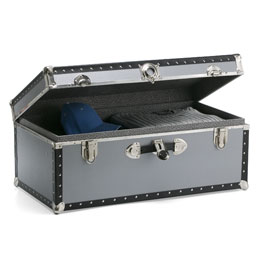 The Container Store > Silver Footlocker with Tray