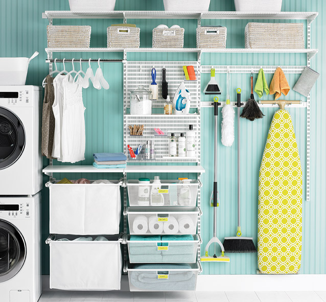 Best Laundry Room Location: Elfa Shelving System