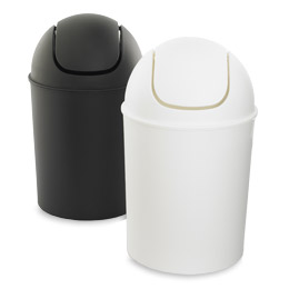 White rectangle tubelor high grand trash can the container store Lidded trash can for bathroom