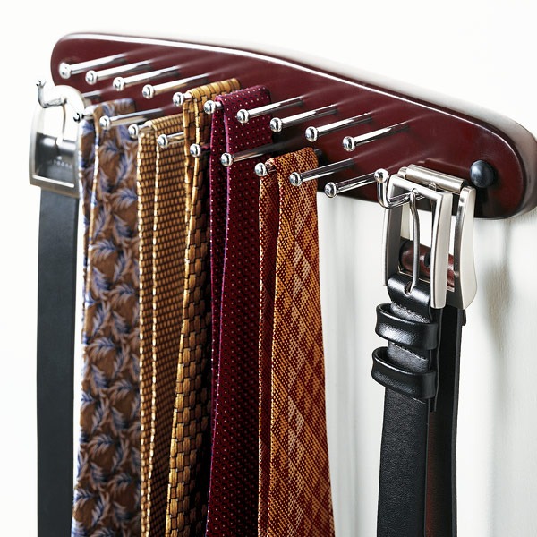 Walnut Wooden Tie Belt Rack The Container Store