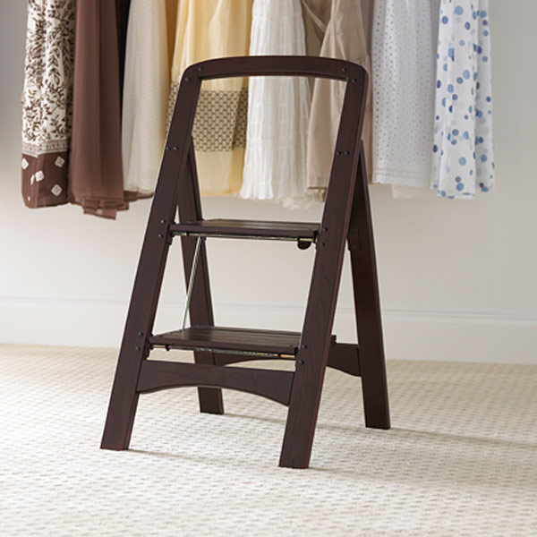 Walnut 2 Step Wooden Folding Stool The Container Store