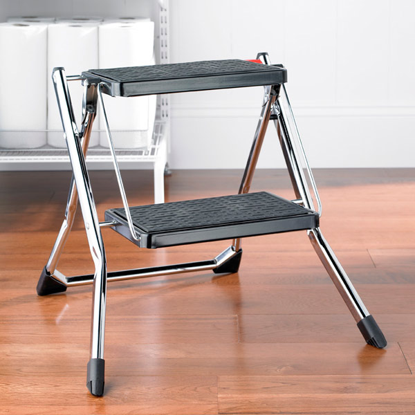 Chrome Slim Folding Step Stool · u0026 · u0026. Roll over to zoom & Polder Chrome Slim Folding Step Stool | The Container Store islam-shia.org