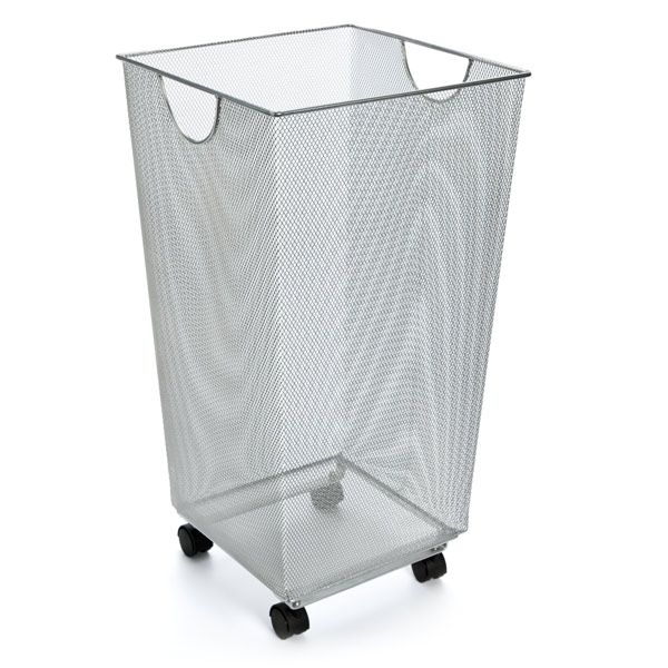 Silver Mesh Handy Bin With Wheels The Container Store