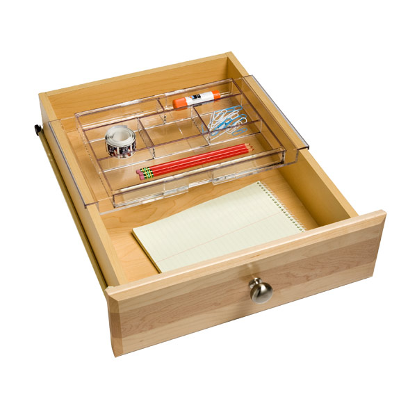 Expanding acrylic drawer organizer the container store - Acrylic desk drawer organizer ...