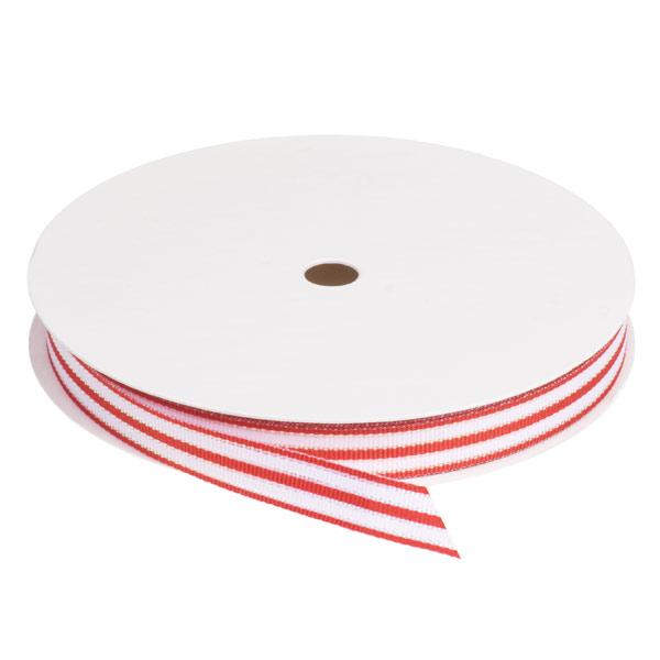 Red & White Striped Grosgrain Ribbon
