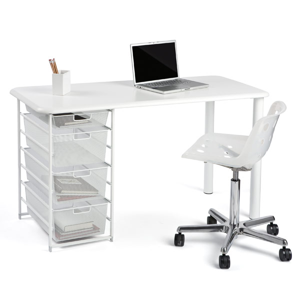 Elfa Mesh Component Desk with Rounded Edge