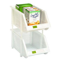 white stackable bins with label holder - Plastic Stackable Bins