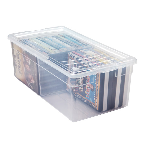 media box clear plastic media box the container store. Black Bedroom Furniture Sets. Home Design Ideas