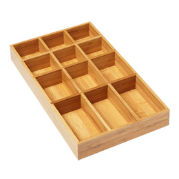 12section shallow bamboo tray