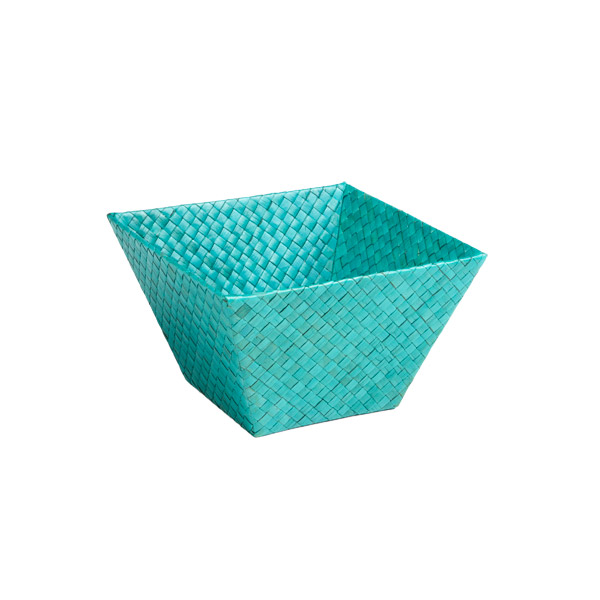 Small Square Pandan Basket Turquoise