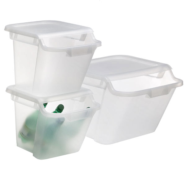 Stacking Recycling   Storage Bins. Clear Stackable Recycle   Storage Bins   The Container Store