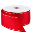 White Stitched Red Grosgrain Wired Ribbon