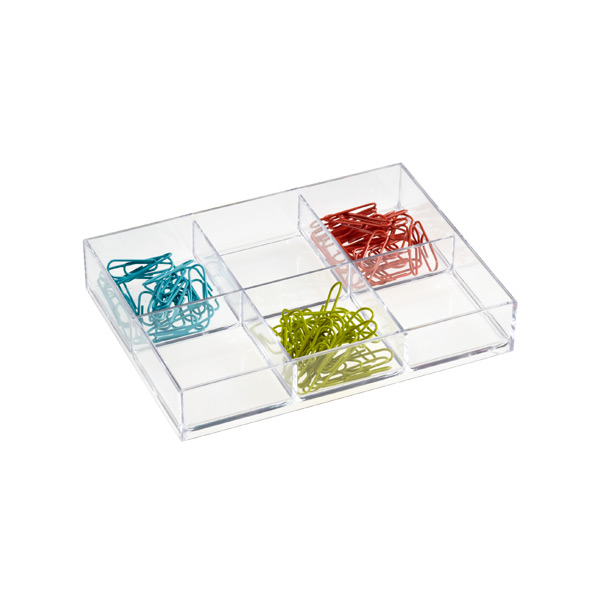 like-it Small Shallow 6-Section Drawer Divider Clear