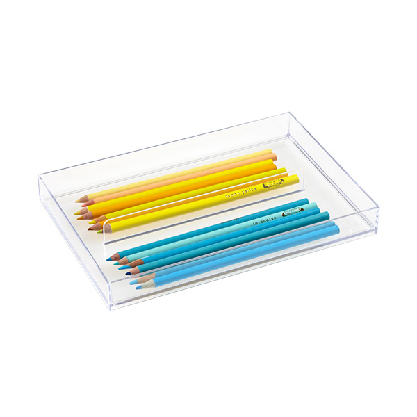 like-it Large Shallow 2-Section Drawer Divider Clear