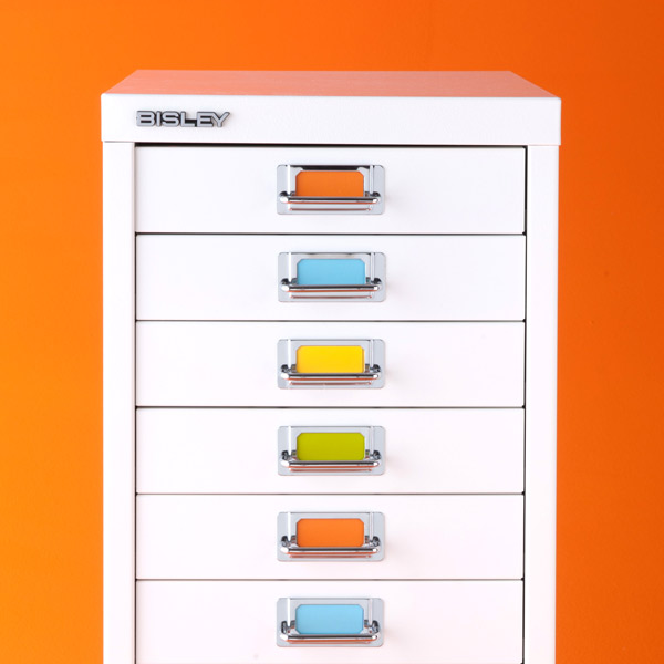 Kitchen Shelf Labels: Bisley White 8- & 10-Drawer Collection Cabinets