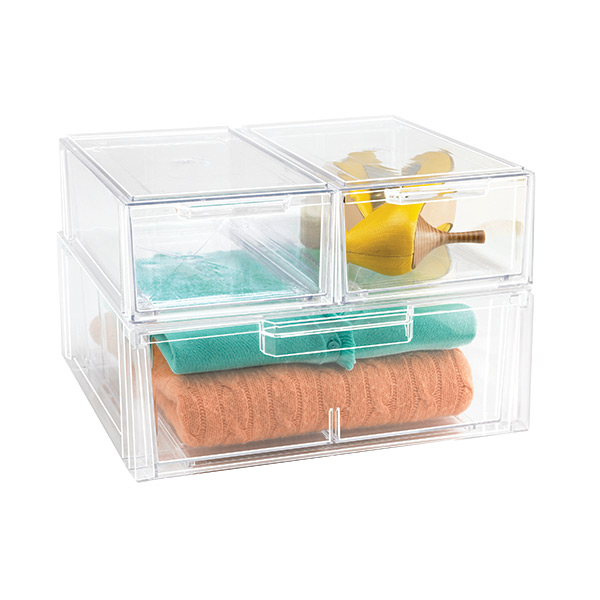 Clear Stackable Shirt Accessory Drawer The Container Store