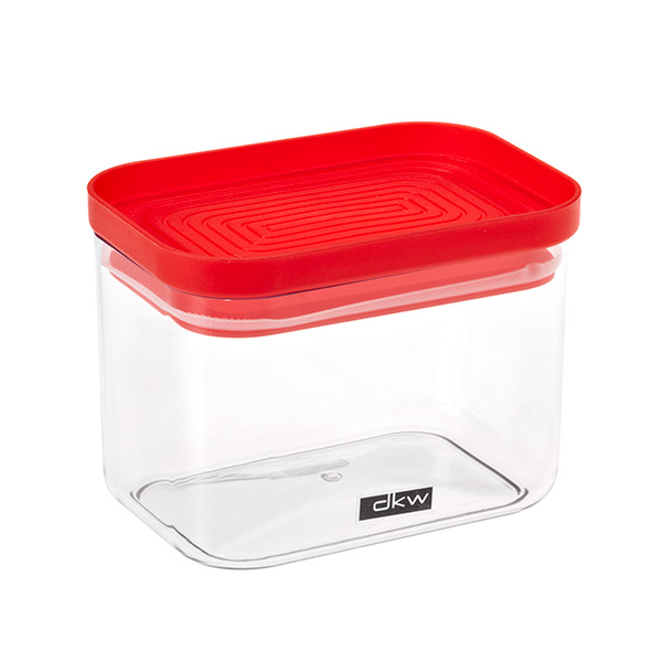 24 oz. Rectangle Canister Red Lid