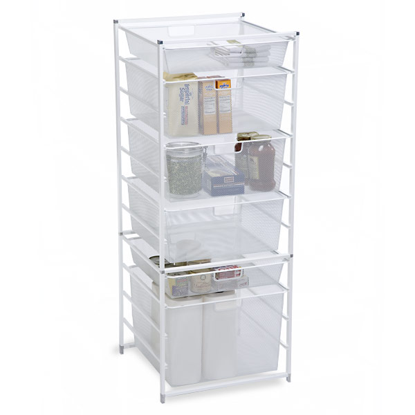 Kitchen Storage Cabinets With Drawers: White Cabinet-Sized Elfa Mesh Drawers