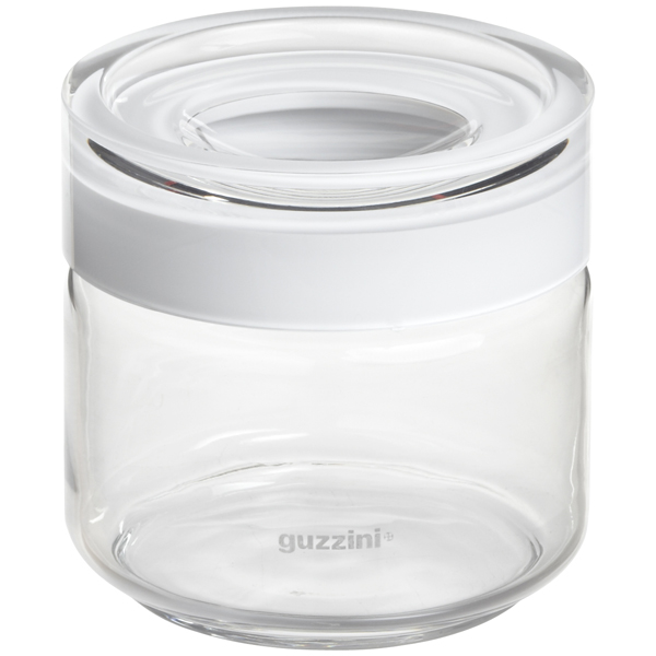 Guzzini 17 oz. Blanca Glass Canister White Acrylic Lid