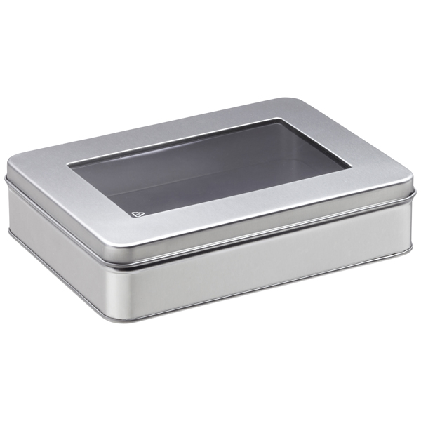 Medium Rectangular Tin with Window Silver