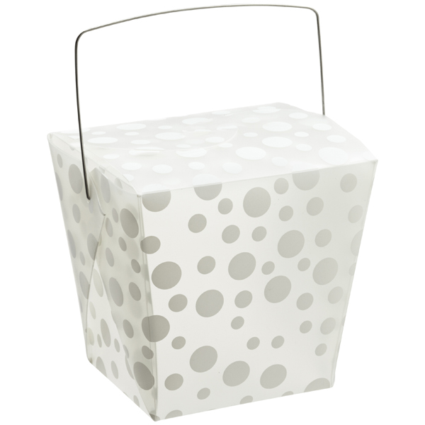 32 oz. Take Out Carton White Polka Dot