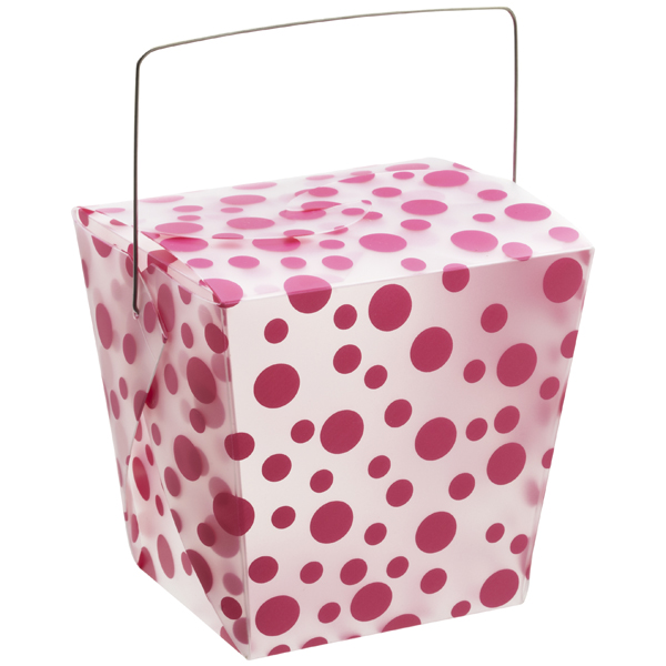 32 oz. Take Out Carton Fuchsia Polka Dot