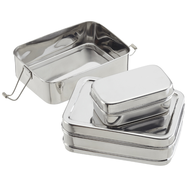 Container Store Lunch Box: ECOlunchbox Stainless Steel Rectangular 3-in-1 Lunch Box