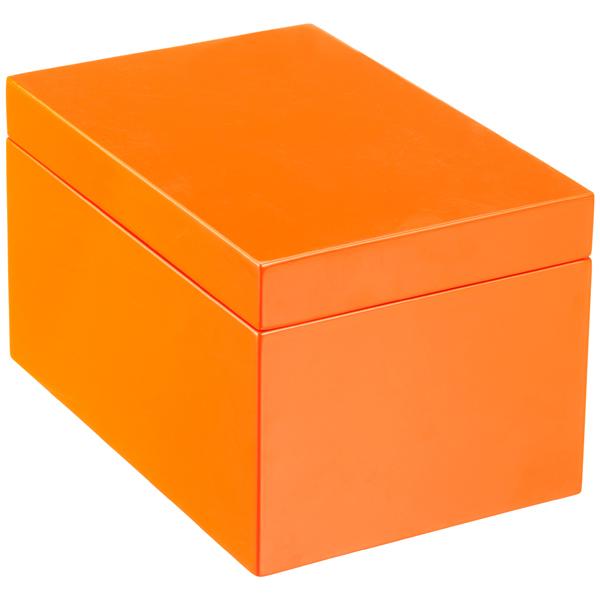 Large Lacquered Rectangular Box Orange