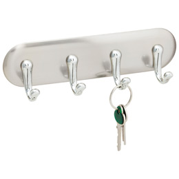 InterDesign Stainless Steel 4-Hook York-Adhesive Key Holder
