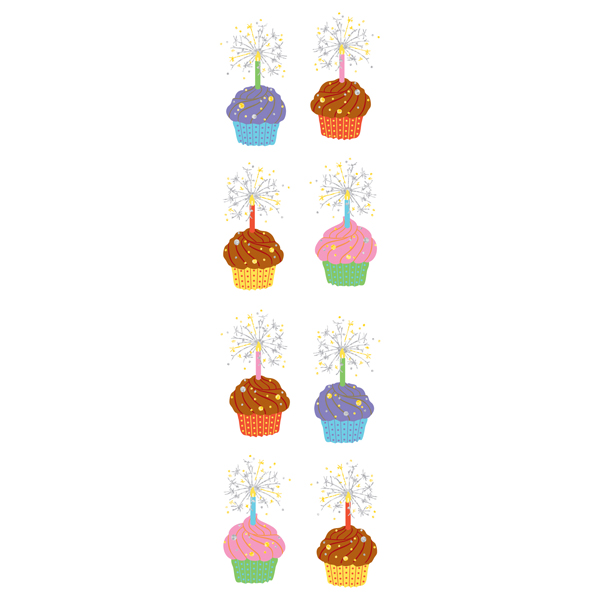 Small Sparkle Cupcake Stickers