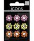 Sm. Flower Rhinestone Stickers Multi Pkg/9