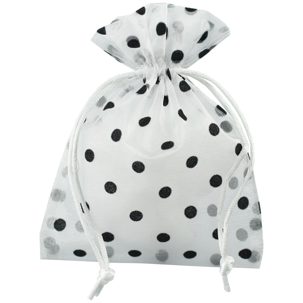 Black Flocked Dots Sheer Drawstring Sack