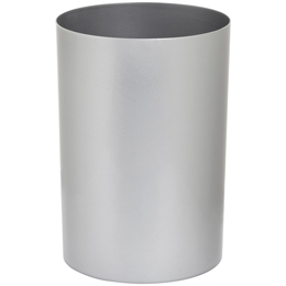 Lustroware Silver Metallic Large Cylinder Trash Can