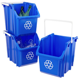 Blue 6 Gal Stackable Recycle Bin With White Handle The